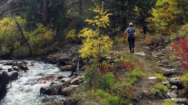 trail running, running, hiking, trails, mountains, autumn trail, colorado, autumn leaves, mountain stream