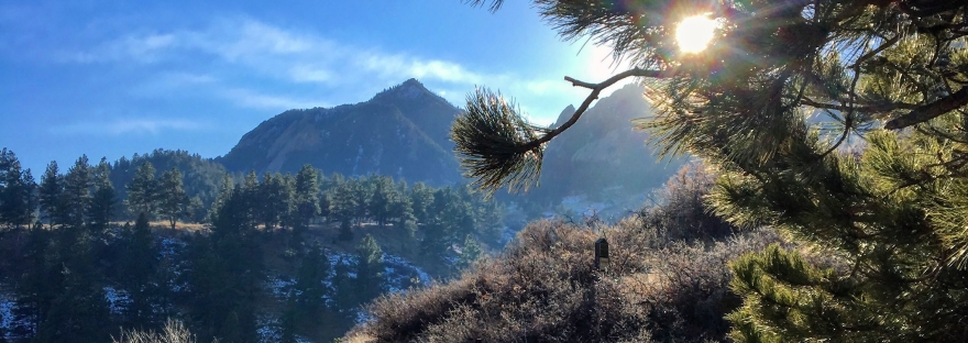 boulder, colorado, mountains, sun, solar flare, trails, hiking, trail running