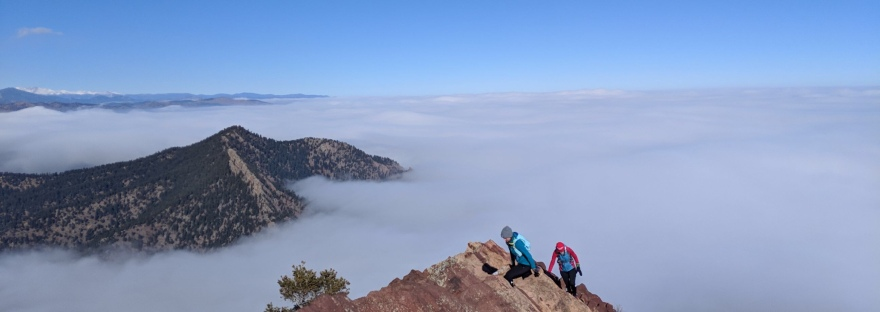 mountains, mountain views, above the clouds, inversion, women hiking, trail runners, trail running, boulder, colorado