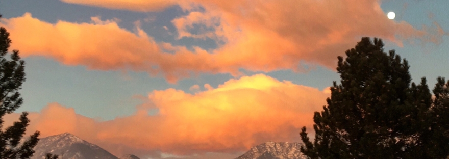 sunrise, full moon, mountains, boulder, flatirons, colorado, colorful clouds