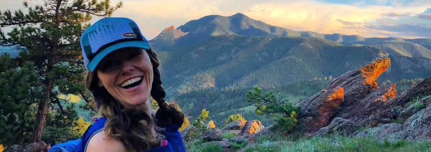 hiking, trail running, boulder, mount sanitas, smiling woman, happiness, sunset hike