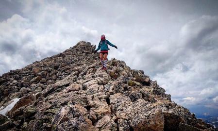 woman on mountain summit, colorado, mount yale, woman hiker, fourteener, sawatch range, woman on mount yale, trail sisters, mountain,