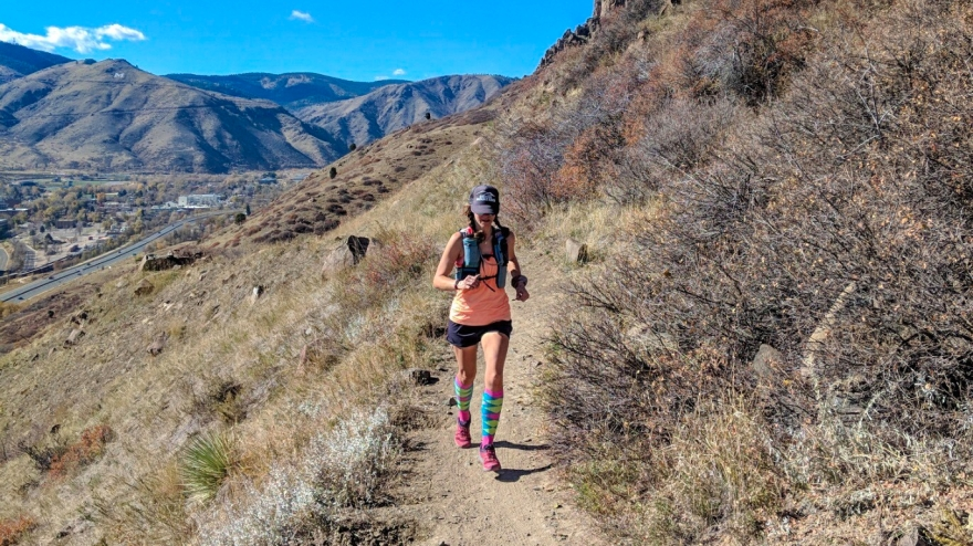 golden colorado, trail running, trail runner, woman running, running trails, north table mountain, salomon trail running, compression socks